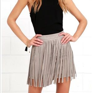 BB Dakota Pearl Taupe Suede Fringe Mini Skirt